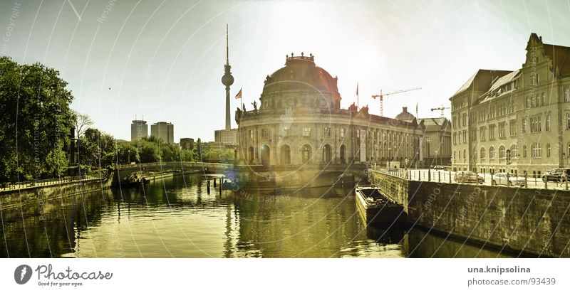 museum island Sun Capital city Large Museum island Spree Berlin monbijou bridge Middle Berlin TV Tower telespargel Panorama (Format) Colour photo Subdued colour