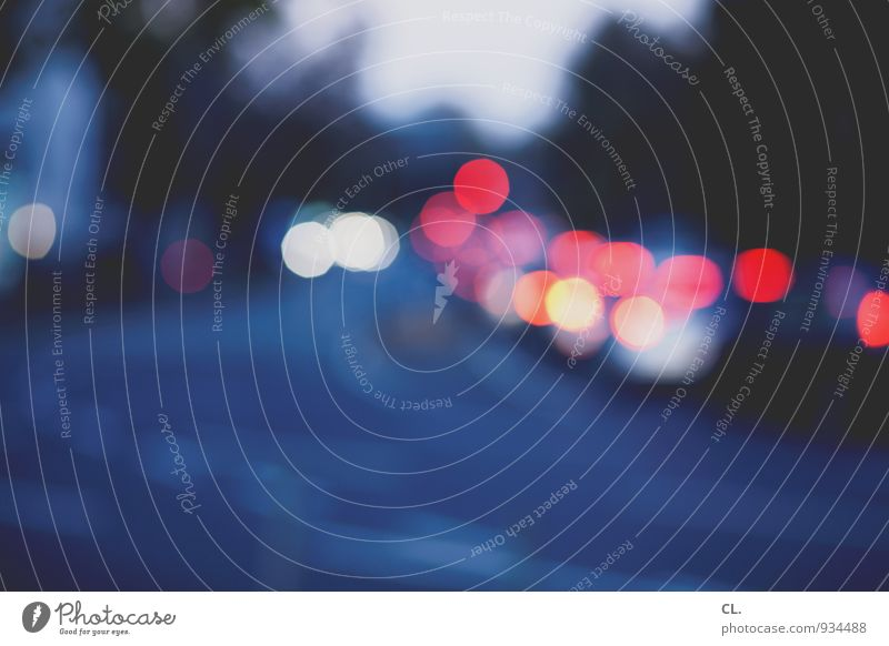 Blue Red Street Lanes & trails Transport Esthetic Circle Traffic infrastructure Motoring Road traffic Point of light Means of transport Traffic jam Rush hour