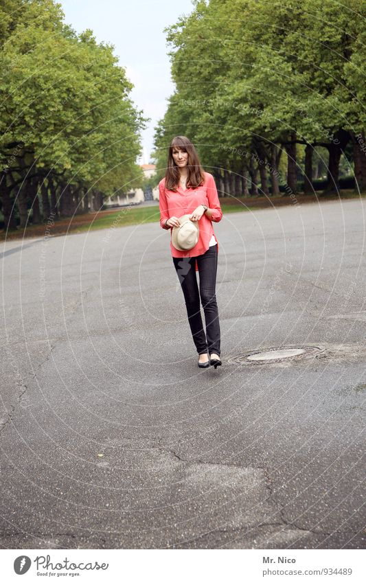 hello. Lifestyle Feminine Young woman Youth (Young adults) 1 Human being 18 - 30 years Adults Environment Park Shirt Hat Brunette Long-haired Going Thin Avenue