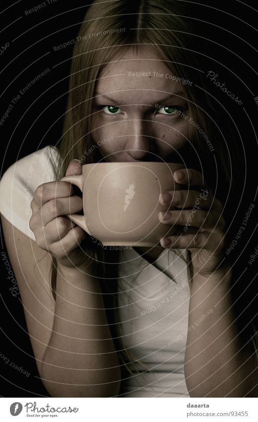 tea lady Clever Portrait photograph Woman Calm Relaxation nice eyes passionate cup Coffee coffe Drinking Interior shot