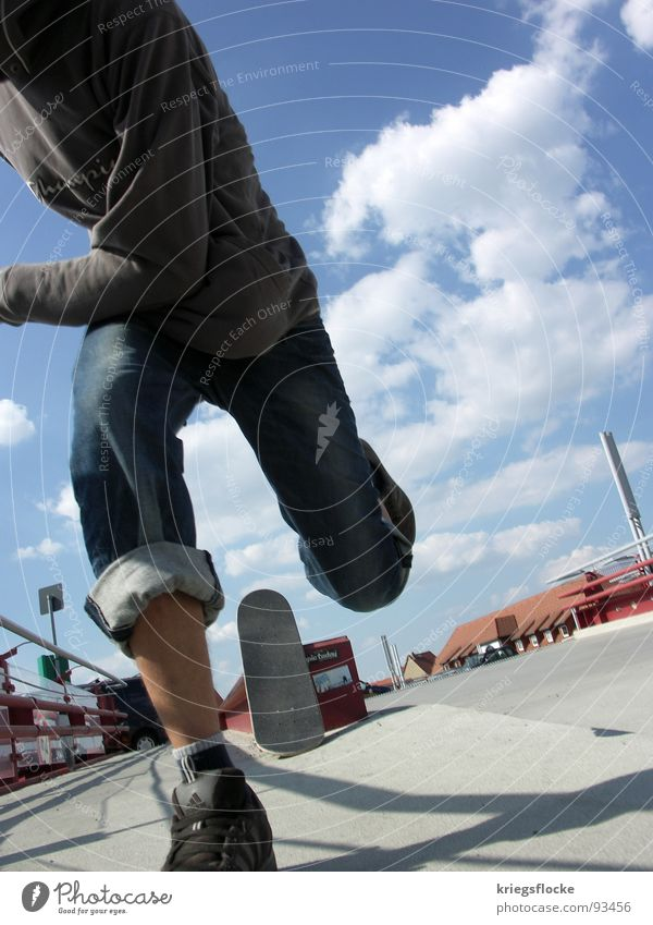 run Playing Man Adults Feet Clouds Beautiful weather Places Pants Sweater Footwear Running Blue White Skateboarding Action Stride Beginner Handrail Colour photo