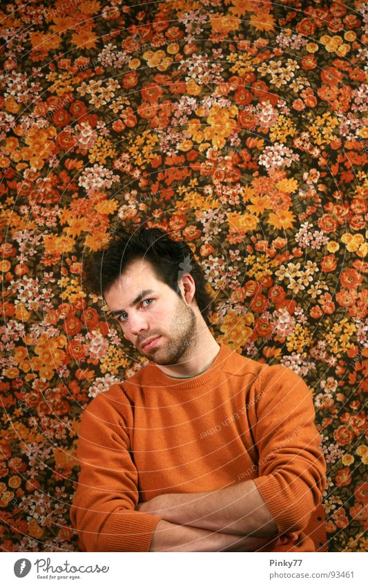 flowers Man Attractive Flower Pattern Plant Multicoloured Black White Facial hair Rebel Looking Skeptical Generation Unshaven Irony Masculine Transience