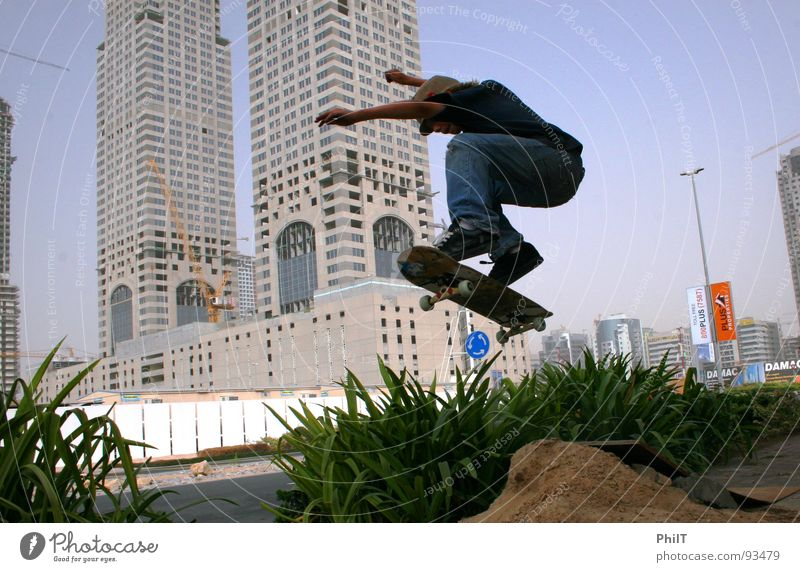 Skate Dubai 2 Media Media City Dubai Town Skateboarding Jump High-rise Hedge Funsport Sand Ollie Plant
