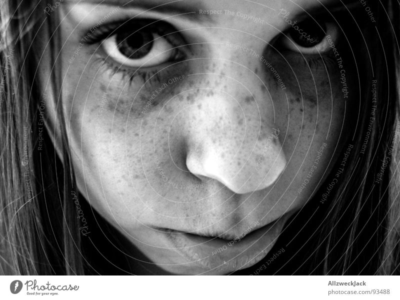 freckles Woman Freckles Portrait photograph Girl Dark Sweet Disappointment Grief Puppydog eyes Black White Distress Black & white photo Face Hair and hairstyles