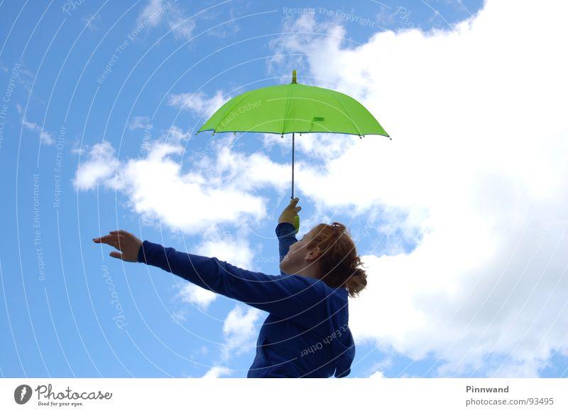 Sky Blue Green White Red Joy Clouds Grass Rain Orange Dance Woman Umbrella Action Lady Stalk