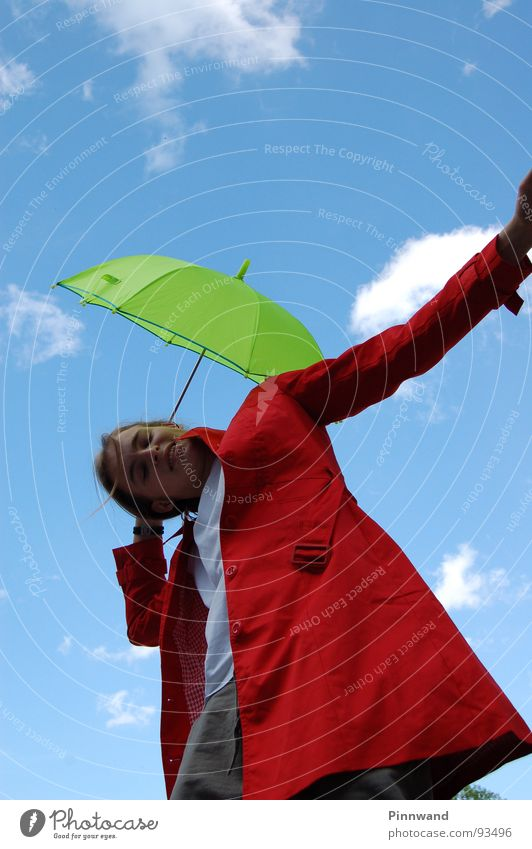 Sky White Green Blue Red Joy Clouds Grass Rain Dance Orange Umbrella Stalk Lady Sweater Bud