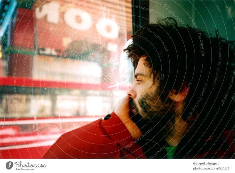 Man City Red Vacation & Travel Hair and hairstyles Longing London Bus Self portrait Lomography Portrait photograph England Sentimental