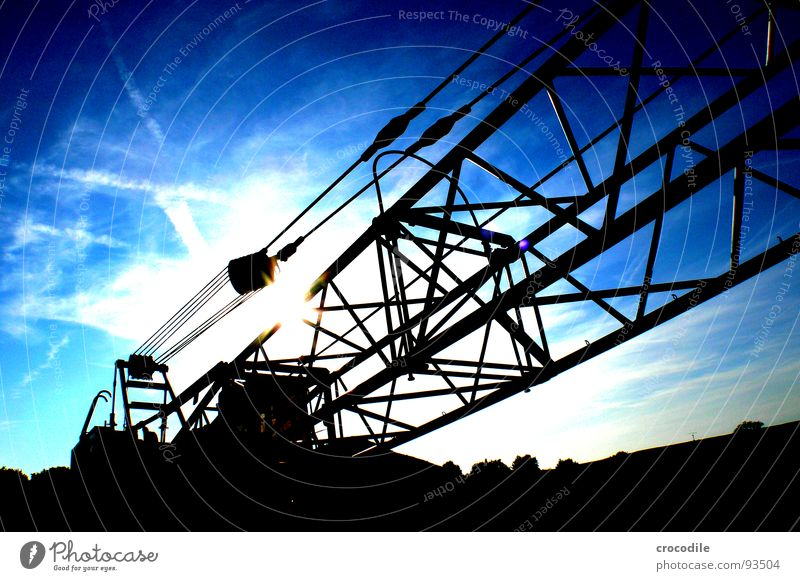 Giant excavator Excavator Gravel Gravel plant Lake Baggersee Back-light Outrigger Clouds Dark Industry Wire cable Coil Scaffold Sun Blue Contrast Arm siluette