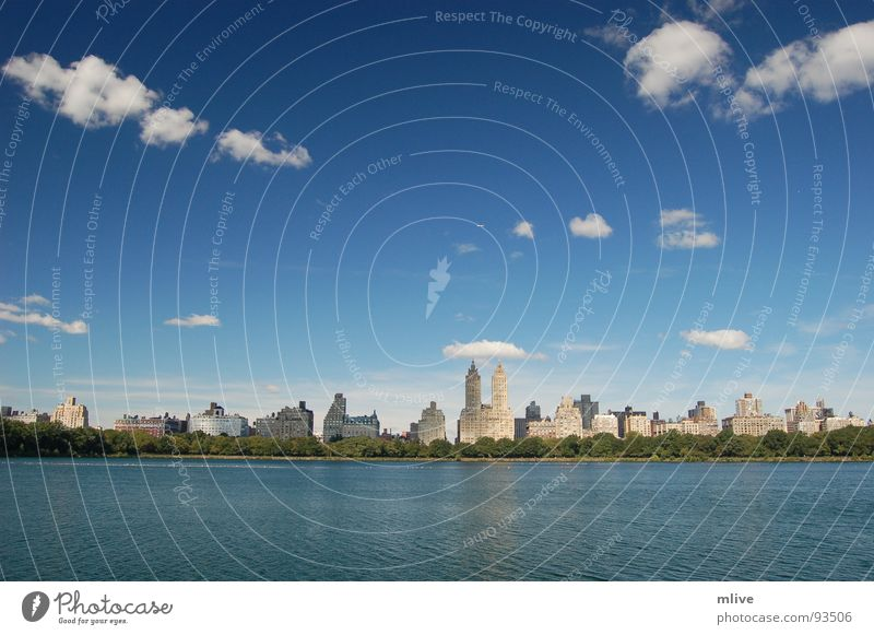 Water Sky Blue City Clouds Relaxation Freedom Park Building Waves Wet Facade USA Skyline New York City
