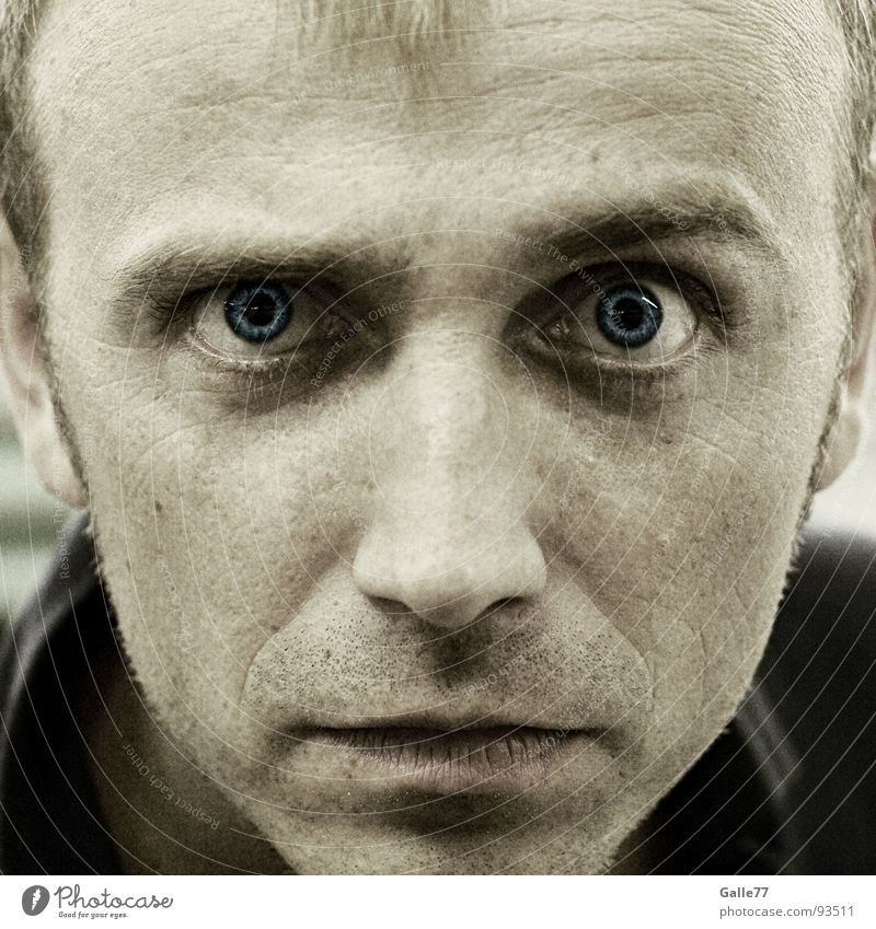 hypnosis Portrait photograph Man Hypnotic Looking Direct Eerie Eye-catcher Appearance Fear Panic Face Eyes Blue Concentrate suggestion