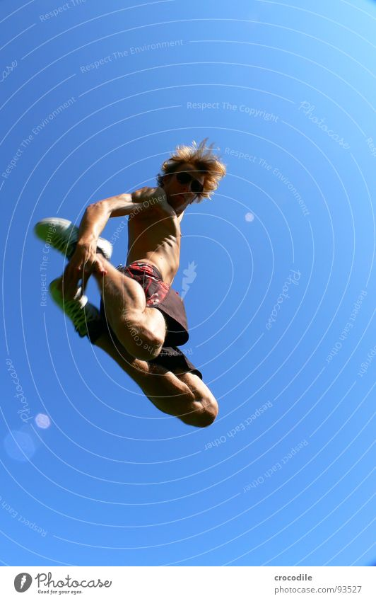 me myself and I in the sky Style Worm's-eye view Ribs Nerviness Release Posture Joy jump air Porno glasses Hair and hairstyles swimming shorts neaker Feet Legs