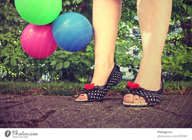 Woman Street Colour Meadow Grass Feet Footwear Legs Rose Balloon Bushes Point Lady Toes Playground Absurdity
