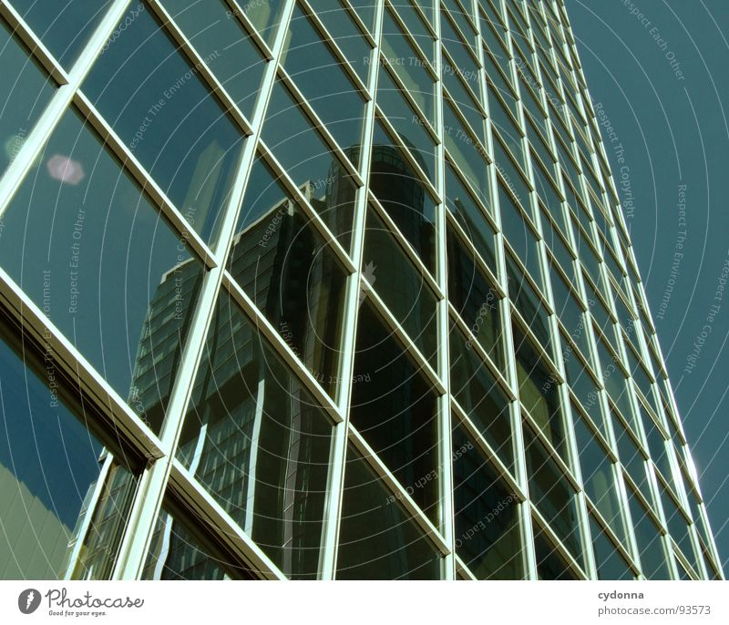 Something behind Frankfurt High-rise Relationship Town Groomed Effect Desire Far-off places Landmark Mirror Window Glazed facade Architecture Success Might