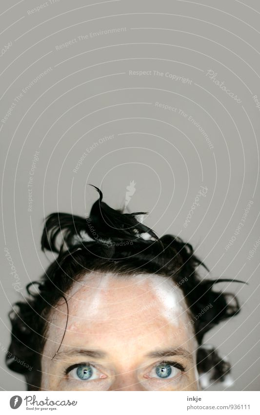 Foam In Wet Hair, Woman Face pretty Personal hygiene Hair and hairstyles Shampoo Adults Life Eyes 1 Human being 30 - 45 years Black-haired Mop of curls Looking