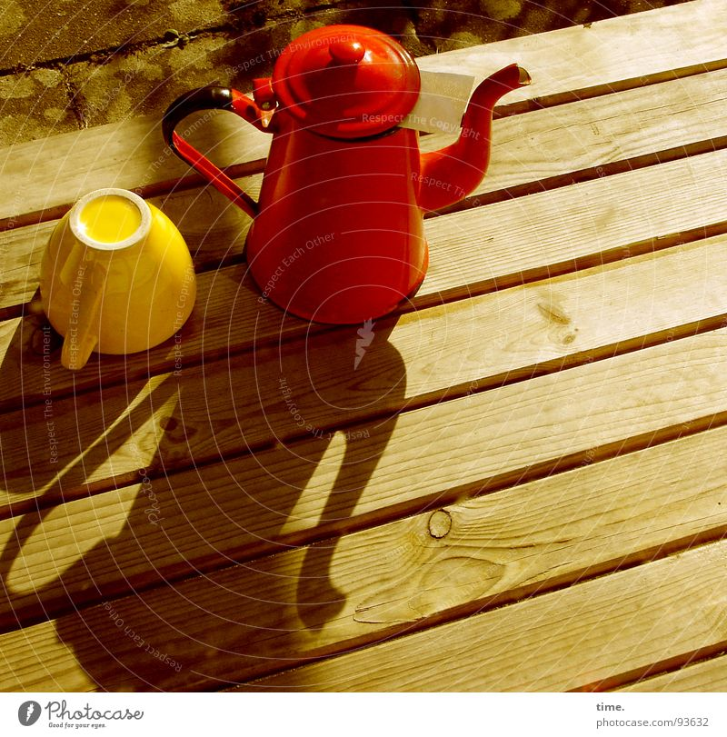 tea kettle Shadow Tea Cup Elegant Garden Table Gastronomy Yellow Red Jug Teapot Tea cup Filter