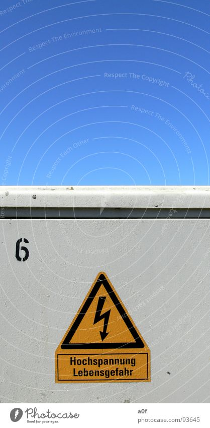 Sky Electricity Dangerous Respect Warning label