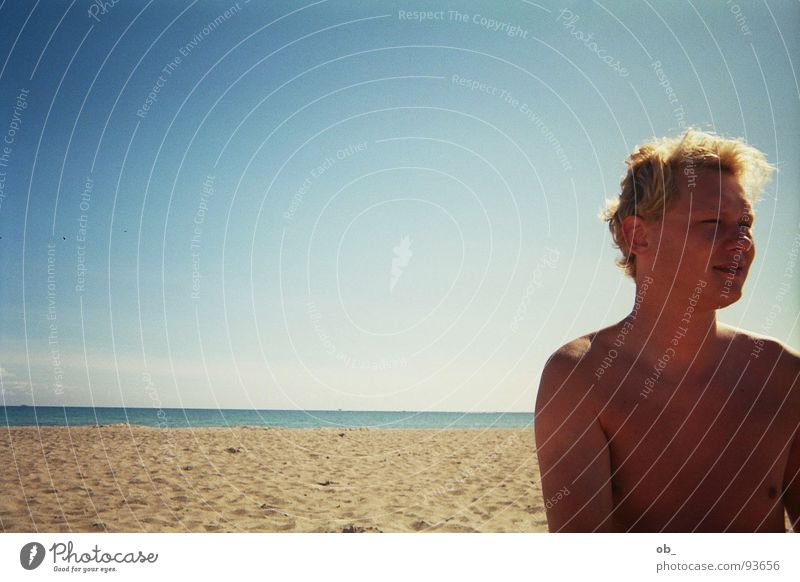Man Sky Blue Summer Beach Loneliness Sand Beautiful weather Fellow Brilliant