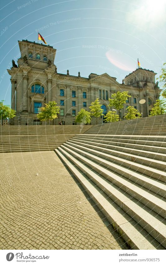 Bundestag Architecture Berlin Reichstag Capital city Seat of government Stairs Steps Sky Sun Back-light Facade Summer Government Building High-rise Deserted