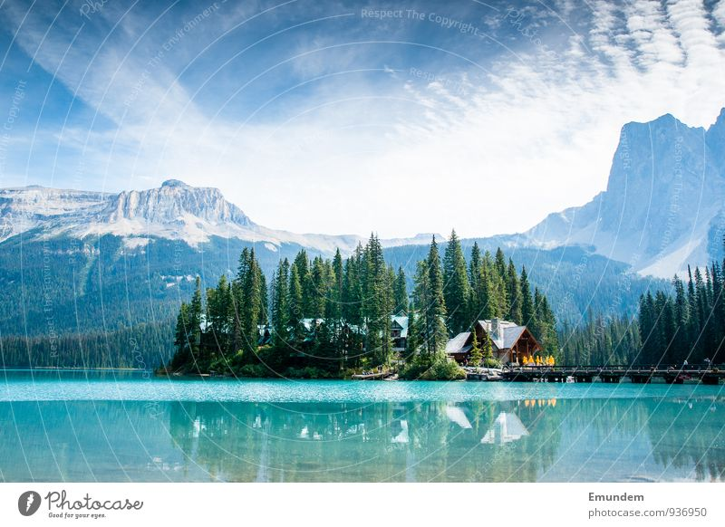 Emerald Lake Environment Nature Landscape Elements Air Water Sky Clouds Summer Weather Beautiful weather Tree Lake Emerald Canada Americas Blue Relaxation