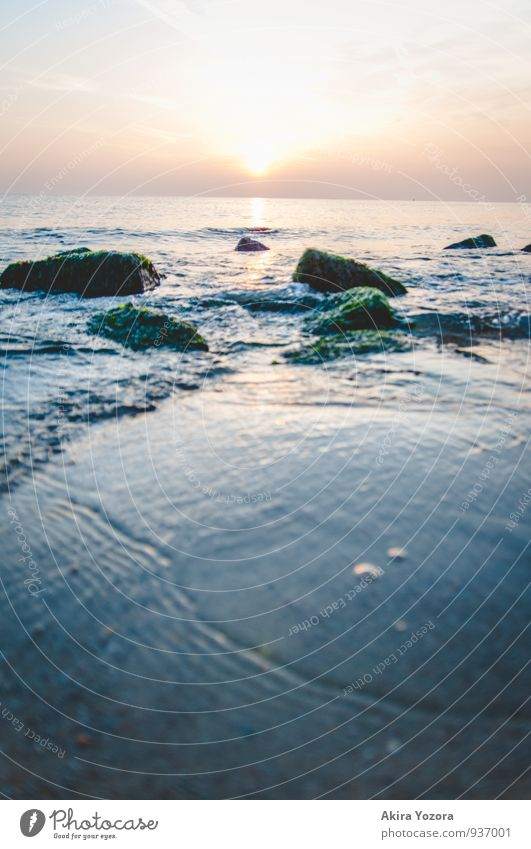 At the Blue Heart Nature Landscape Water Sky Sunrise Sunset Waves Coast North Sea Observe Touch Eating Yellow Green Orange Black White Romance Hope Horizon