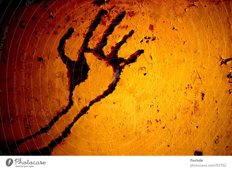 cave painting Rock drawing Cave Fireglow Hand Dark Red Fingers Sculpture Physics Wall (building) Plaster Sanitarium Primitive times Neandertal Past Derelict