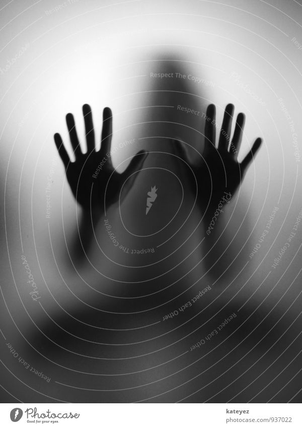 Human being Woman Hand Black Adults Emotions Gray Moody Fear Glass Observe Touch Hope Curiosity Mysterious Belief