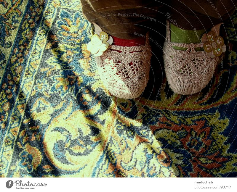 SHOES WITH FLOWERS - TRASH Footwear Pattern Carpet Light Stand Woman Girl Clothing Stockings Green Red Flower Absurdity Beautiful Yellowness Transport Joy