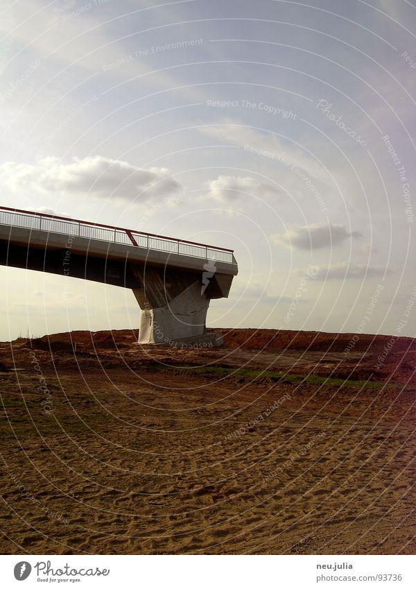 PEDESTRIAN ZONE Construction site Field Brown Edge Bridge Empty Earth Tracks End Architecture