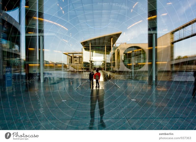 Window Architecture Berlin Facade Modern Glass Concrete Clarity Transparent Capital city Window pane Slice Vista Mirror image Reichstag Seat of government