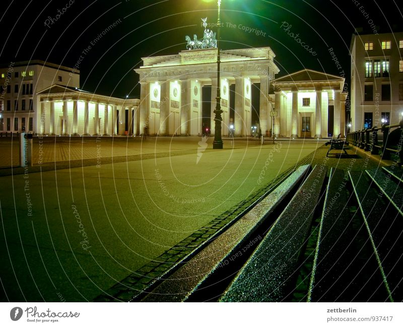 Berlin Sit Bench Capital city Landmark Reunification Night shot Quadriga Brandenburg Gate Carriage and four Unter den Linden Pariser Platz Cold War