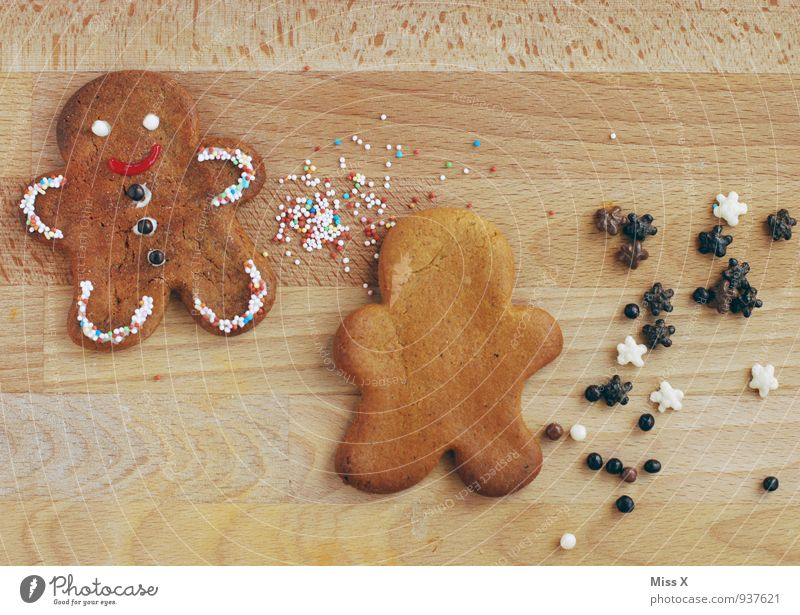 gingerbread man Food Dough Baked goods Candy Chocolate Nutrition Smiling Delicious Cute Sweet Christmas decoration Gingerbread little man Coulored sugar candy