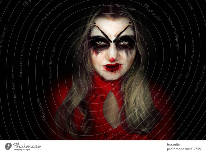 Human being Woman Youth (Young adults) Young woman Red 18 - 30 years Black Dark Adults Face Feminine Death Feasts & Celebrations Crazy Dangerous Threat