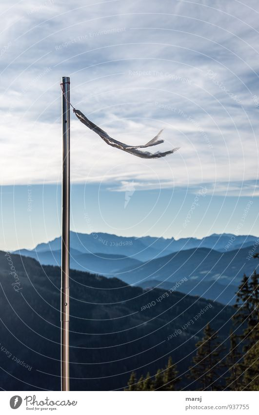 South Southwest Flying sports Windsock Vane Nature Sky Clouds Summer Autumn Beautiful weather Hill Alps Mountain Steel Thin Simple Infinity Cold Blue Judder