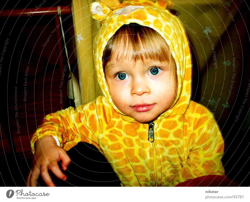 Don't look at me like that! Child Yellow Small Hooded (clothing) Cheek Cute Fingers Lips Sweet Blonde Ask Toddler Clothing Carnival Carnival costume blue eyes