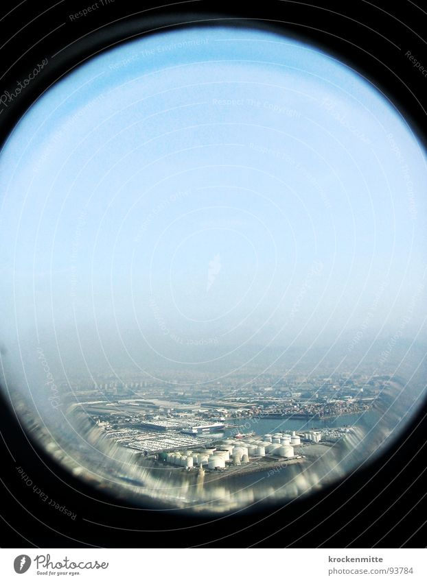 Sky Vacation & Travel Window Airplane Glass Horizon Circle Aviation Industrial Photography Round Vantage point Factory Distorted