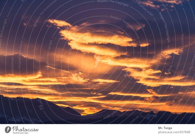 Sky at sunset Vacation & Travel Mountain Hiking Environment Nature Clouds Horizon Sunrise Sunset Dream Free Happy Infinity Orange Emotions