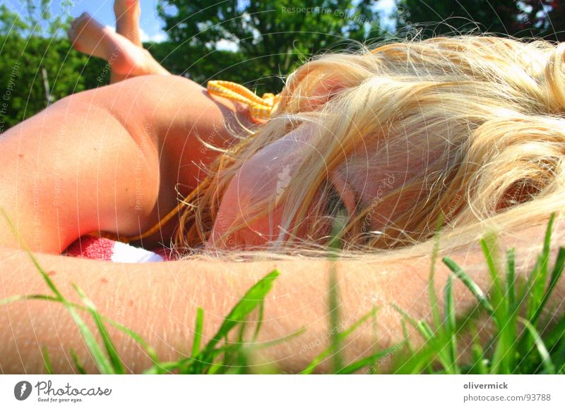 Woman Green Beautiful Sun Summer Colour Eyes Meadow Happy Dream Blonde Bikini Face
