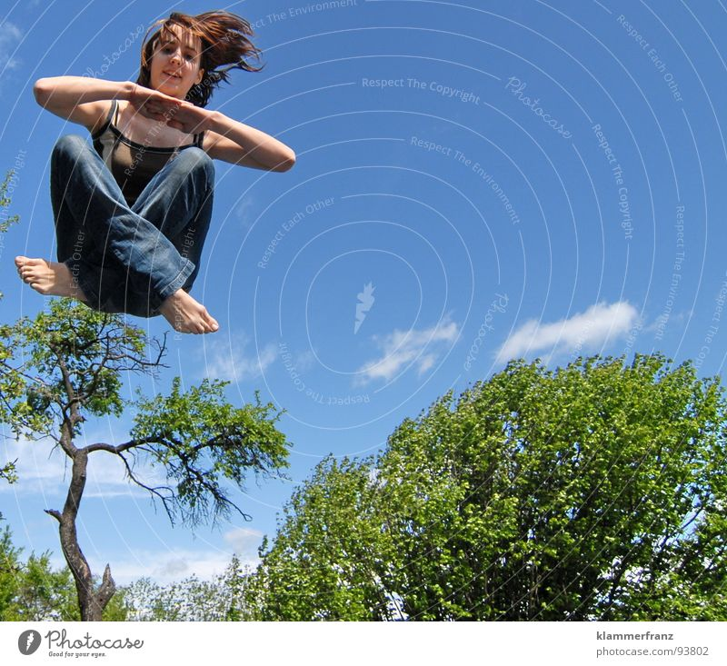 Human being Woman Sky Youth (Young adults) Blue Green White Tree Clouds Calm Joy Forest Healthy Flying Jump Sit