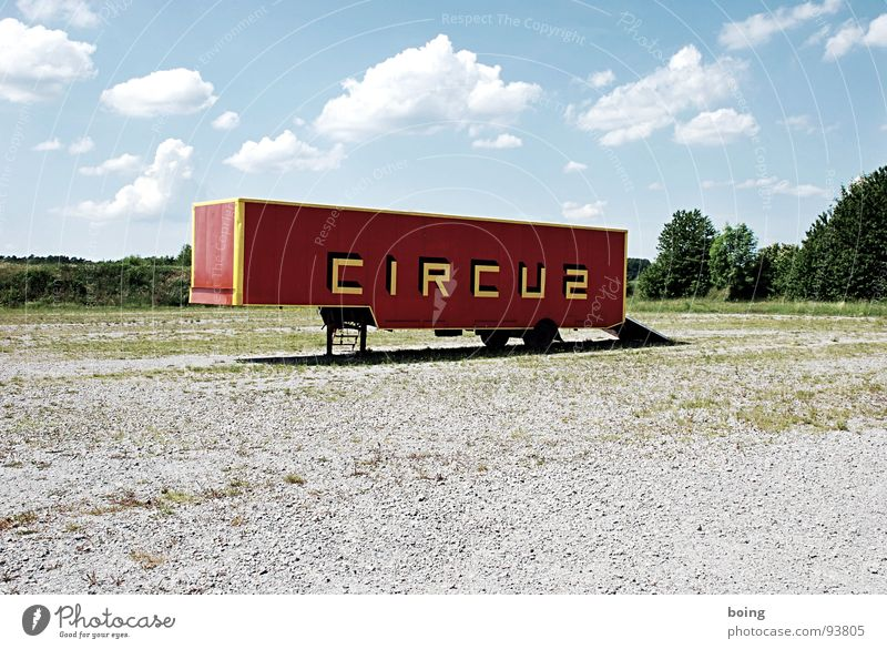 Flea circus moves on Carriage Circus Trailer Container Truck Invite Means of transport Logistics Drop shadow Culture trailers Deserted Circus trailer