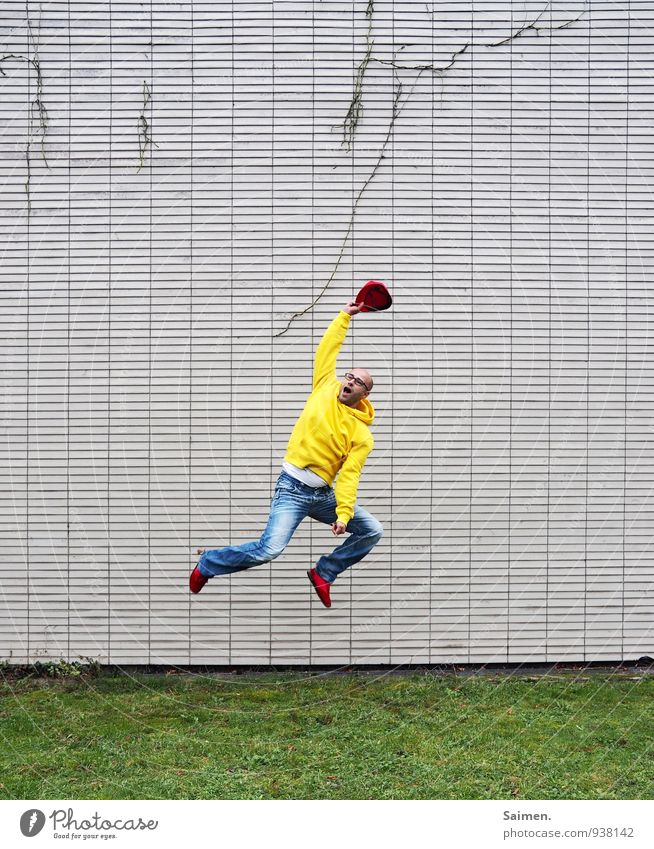 Human being Youth (Young adults) Man Colour Joy 18 - 30 years Adults Wall (building) Life Movement Emotions Sports Wall (barrier) Happy Moody Jump