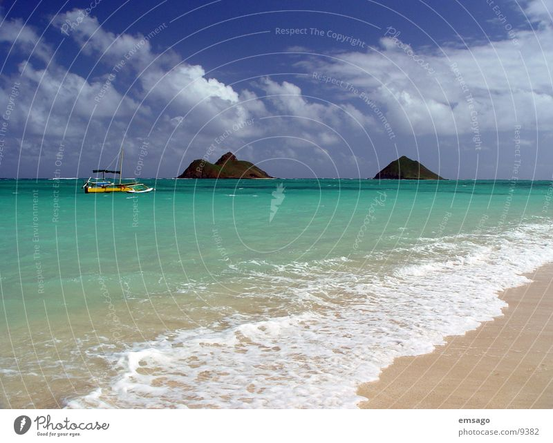 Water Sky Ocean Blue Beach Vacation & Travel Clouds Watercraft Waves Island Exotic Hawaii