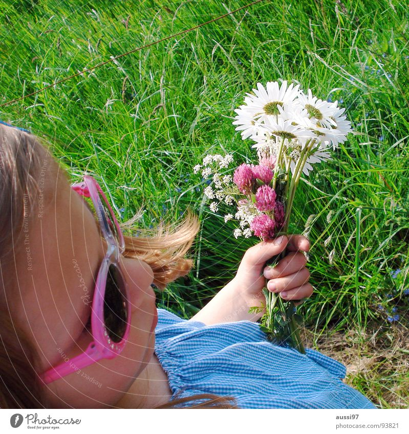 flower child Child Girl Small Sunglasses Flower Meadow Grass Eyeglasses To hold on To go for a walk Summer Leisure and hobbies Catch children's leisure