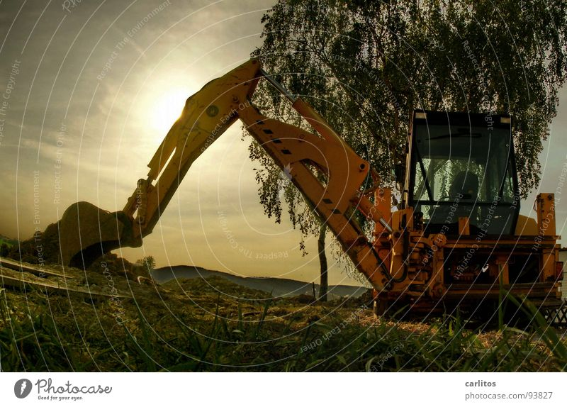 excavator panorama Excavator Construction site Roadblock Diversion Road construction Construction worker Fellow Sunrise Back-light Dazzle Worm's-eye view
