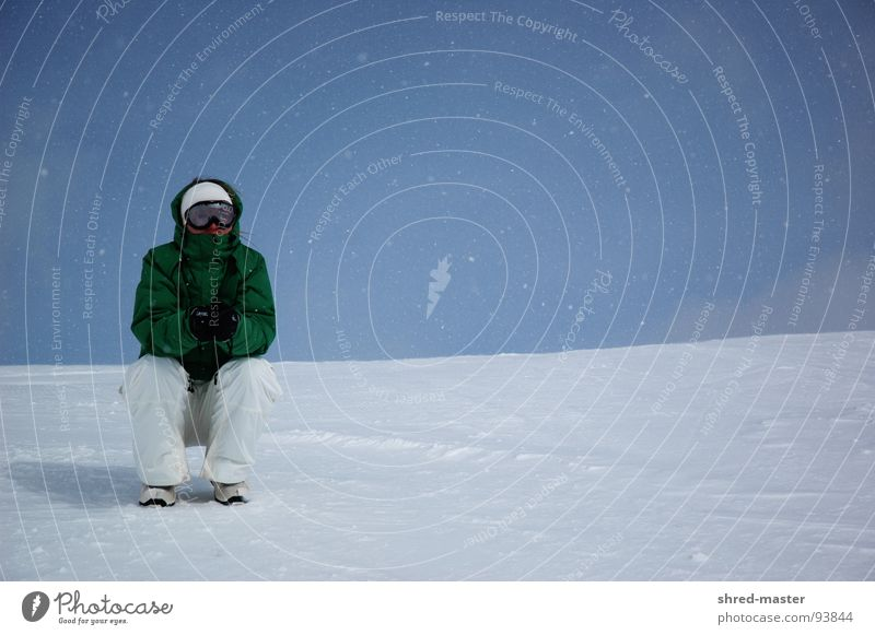 Waiting in the snow Winter Cold Loneliness Winter sports Sit Observe Snowboarder Skiing goggles Freeze 1 Break Snowfall Snow layer Copy Space top