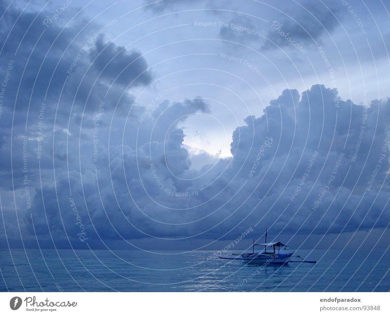 ocean Ocean Pleasant Moody Clouds Watercraft Calm Harmonious Asia Philippines Exterior shot Peaceful Smooth Blue Evening Vacation & Travel Boracay Colour