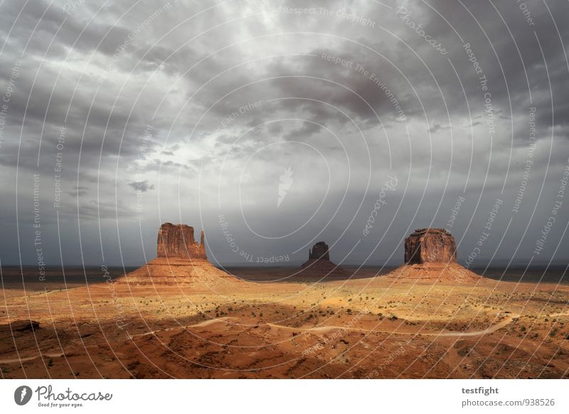 prospect Environment Nature Landscape Earth Sand Clouds Storm clouds Sun Climate Bad weather Monument Valley Gigantic Infinity Colour photo Exterior shot