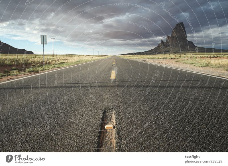 just straight ahead Environment Nature Landscape Clouds Storm clouds Climate Bad weather Monument Valley Transport Motoring Street Line Mountain Hill Horizon