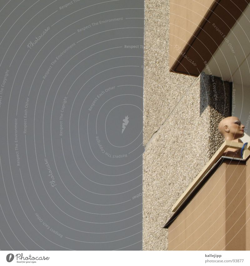 Sky House (Residential Structure) Eyes Architecture Head Flat (apartment) Nose High-rise Authentic Farm Balcony Sunbathing GDR Bald or shaved head Doll
