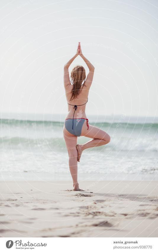 Yoga on the beach Lifestyle Beautiful Personal hygiene Body Healthy Fitness Wellness Harmonious Well-being Contentment Senses Relaxation Calm Meditation