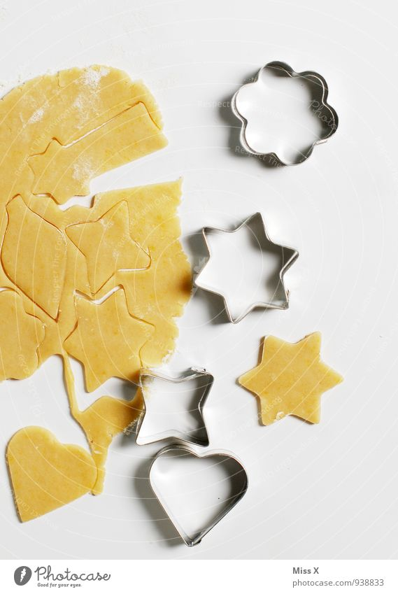 Food Nutrition Heart Cooking & Baking Sweet Star (Symbol) Delicious Baked goods Dough Raw Cookie Christmas biscuit Baking tin cookie cutter cookie dough